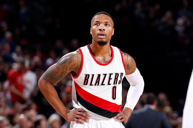 """<a class=""""link rapid-noclick-resp"""" href=""""/nba/players/5012/"""" data-ylk=""""slk:Damian Lillard"""">Damian Lillard</a> is concerned about the anti-Trump protests in Portland. (Getty Images)"""