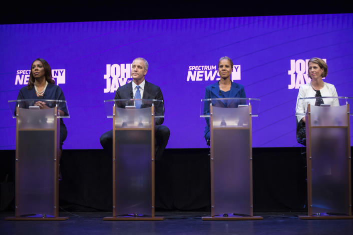 Democratic candidates for the office of New York attorney general take part in a debate at John Jay College in Manhattan. From left are Letitia James, Sean Patrick Maloney, Leecia Eve and Zephyr Teachout. (Photo: Holly Pickett/New York Times via AP)
