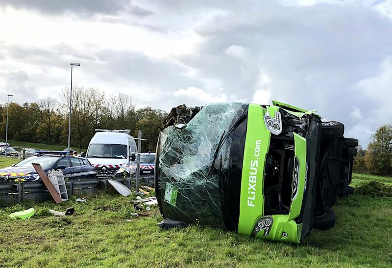 A picture taken on November 3, 2019 shows the site of an accident after a bus from the Flixbus company overturned as it took an exit from the A1 motorway, injuring 29 passengers and seriously wounding 4, near Berny-en-Santerre, northern France. (Photo by FRANCOIS LO PRESTI / AFP) (Photo by FRANCOIS LO PRESTI/AFP via Getty Images)