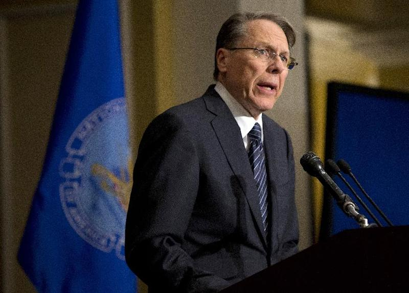 """FILE - In this Friday, Dec. 21, 2012 file photo, The National Rifle Association executive vice president Wayne LaPierre, speaks during a news conference in response to the Connecticut school shooting in Washington.  """"Law-abiding gun owners will not accept blame for the acts of violent or deranged criminals,"""" LaPierre said in his statement prepared for the hearing but released on Tuesday Jan. 29, 2013. """"Nor do we believe the government should dictate what we can lawfully own and use to protect our families."""" (AP Photo/Evan Vucci)"""