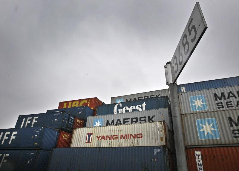 Containers pile up in Duisburg, Germany, Tuesday, May 15, 2012. Germany's economy grew  0.5 percent in the  first quarter of 2012. Europe dodged one bullet Tuesday after figures showed the economy of the 17 countries that use the euro narrowly avoiding recession in the first quarter of the year despite a raging debt crisis that's raising the specter of the breakup of the currency union.  However, huge economic disparities exist across the single currency bloc, with many of those pursuing aggressive austerity programs mired in recession, while the powerhouse economy of Germany prospers on the back of its industrial might. (AP Photo/Frank Augstein)