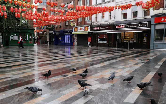 Pigeons eat food on the street in Chinatown, London, which is closed off to cars - Reuters