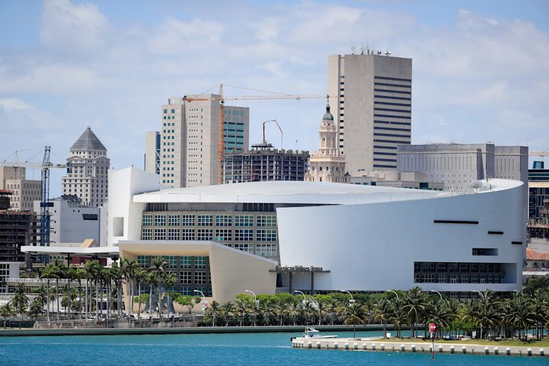 MIAMI, FLORIDA - MAY 08: A general view of the AmericanAirlines Arena is seen on May 08, 2020 in Miami Florida. According to reports the Miami Heat are looking to possibly reopen their facilities at the arena on May 11. (Photo by Cliff Hawkins/Getty Images)