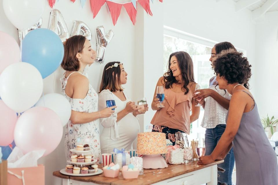 Group of multi-ethnic women at a baby shower.