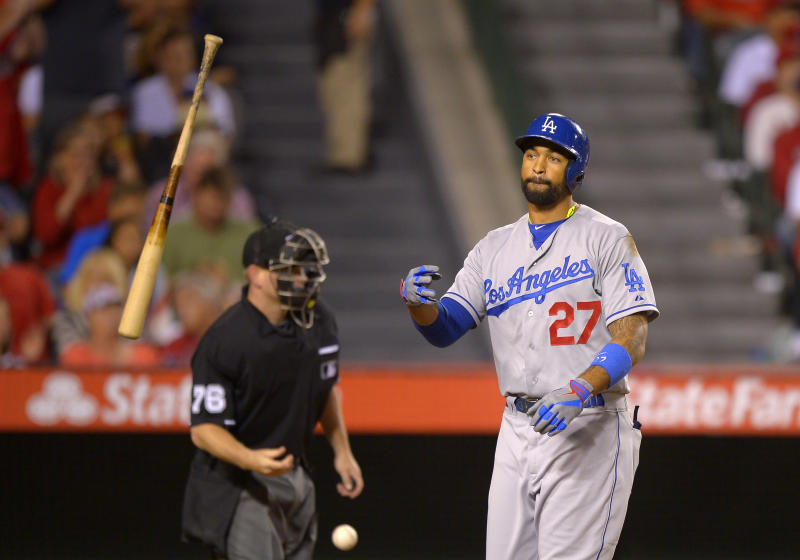 Los Angeles Dodgers' Matt Kemp tosses his bat after striking out during the sixth inning of a baseball game against the Los Angeles Angels, Wednesday, May 29, 2013, in Anaheim, Calif. (AP Photo/Mark J. Terrill)