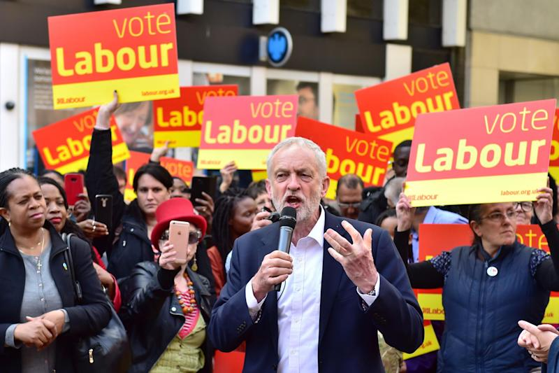 Jeremy Corbyn delivers a stump speech to Labour activists in Croydon: PA