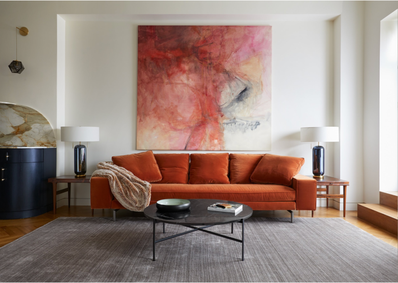 Velvet and plush pieces like this make for cozy, bold statements in any home.
