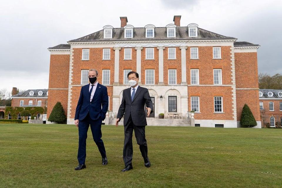 Dominic Raab with South Korea's Minister of Foreign Affairs Chung Eui-yong at Chevening House (Niklas Halle'n/PA) (PA Wire)