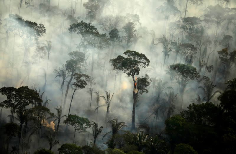 FILE PHOTO: Smoke billows during a fire in an area of the Amazon rainforest near Porto Velho