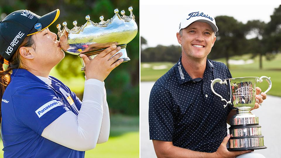 Pictured here, previous winners of the women's and men's Australian Open golf tournaments.