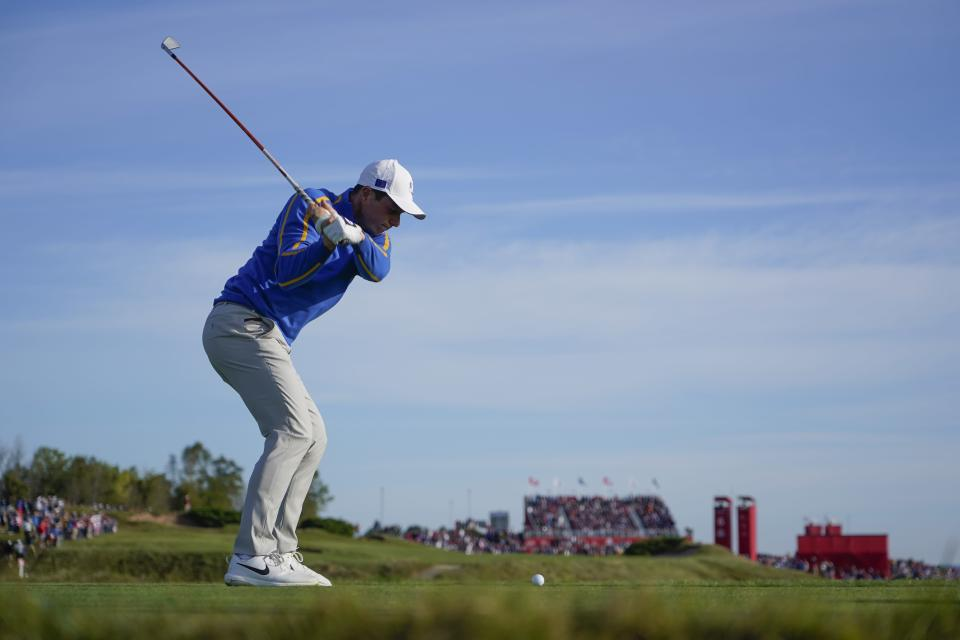 Team Europe's Viktor Hovland hits a shot on the sixth hole during a foursome match the Ryder Cup at the Whistling Straits Golf Course Friday, Sept. 24, 2021, in Sheboygan, Wis. (AP Photo/Jeff Roberson)
