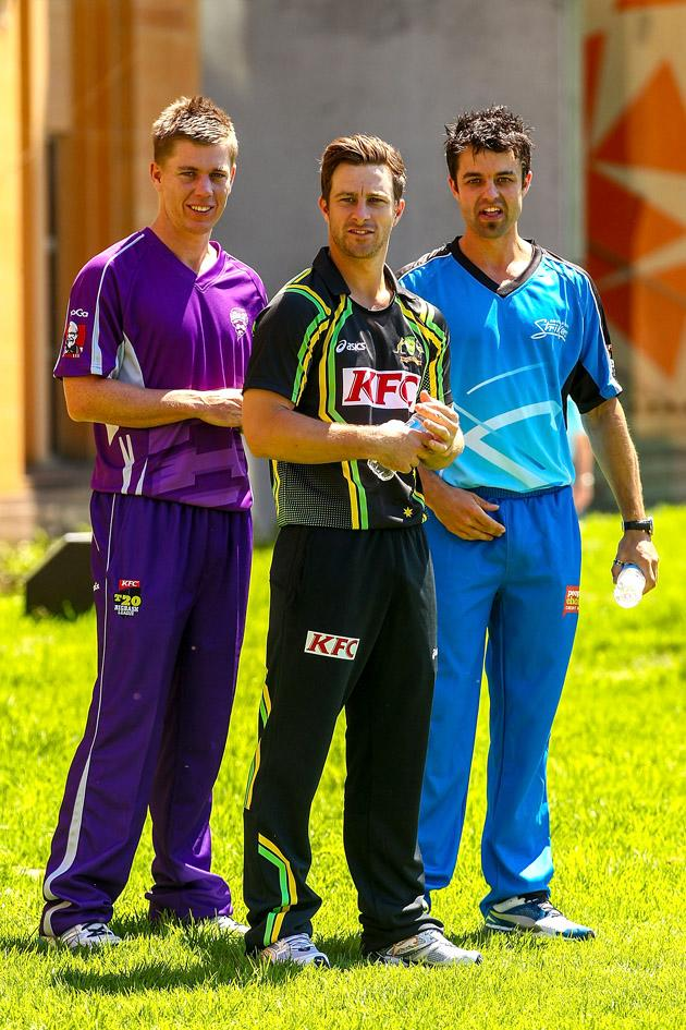 SYDNEY, AUSTRALIA - OCTOBER 15: Xavier Doherty, Matthew Wade and Callum Ferguson watch on before the Cricket Australia season launch at Museum of Contemporary Art on October 15, 2012 in Sydney, Australia.  (Photo by Mark Nolan/Getty Images)