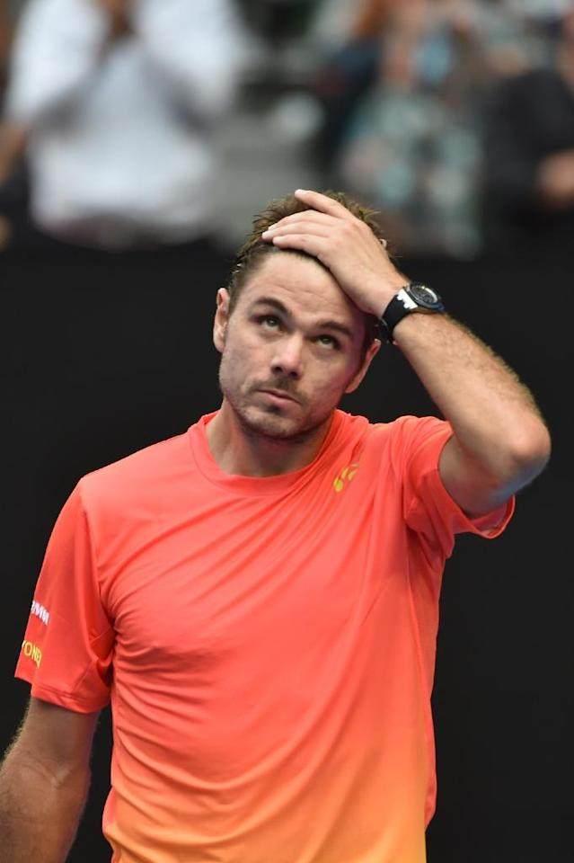 Switzerland's Stanislas Wawrinka, seen during his Australian Open men's singles fourth round match against Canada's Milos Raonic, in Melbourne, on January 25, 2016 (AFP Photo/Saeed Khan)