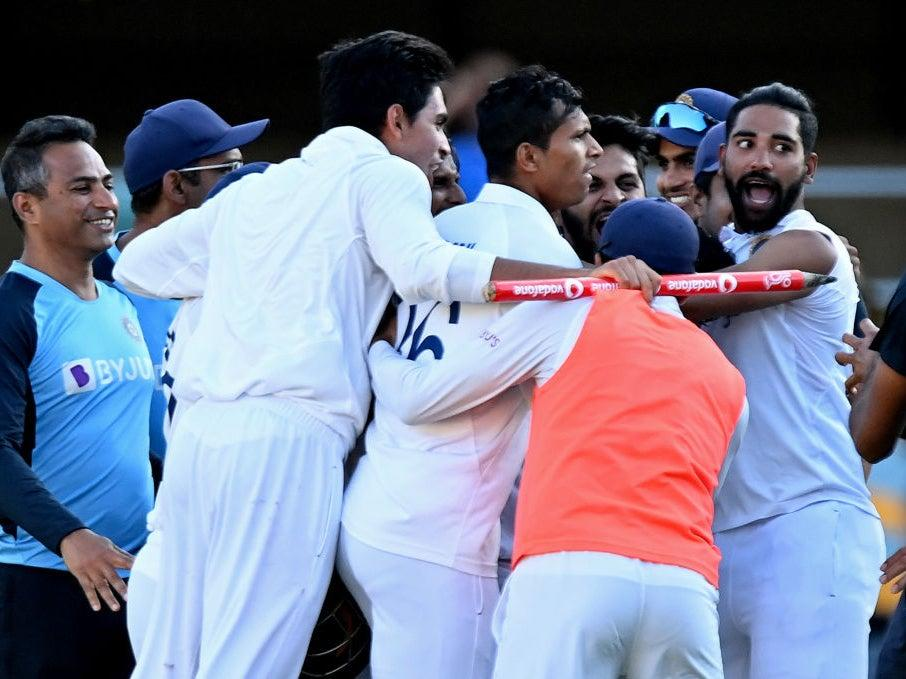 India celebrate their heroics at the GabbaGetty Images
