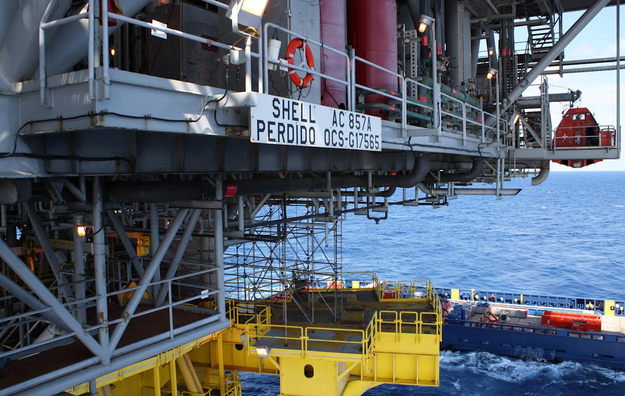 This photo taken Oct. 27, 2011, shows one of the decks aboard the Perdido platform, in the Gulf of Mexico, 200 miles south of Galveston, Texas. Two hundred miles off the coast of Texas, ribbons of pipe are reaching for oil and natural gas deeper below the ocean's surface than ever before. (AP Photo/Jon Fahey)