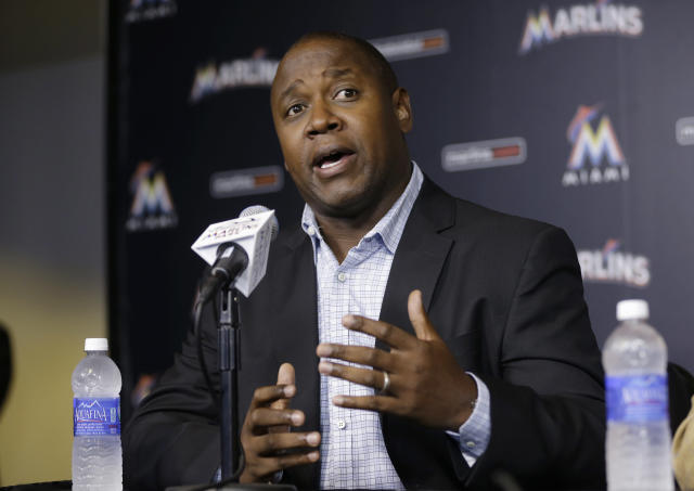 "Marlins GM <a class=""link rapid-noclick-resp"" href=""/ncaaf/players/225845/"" data-ylk=""slk:Michael Hill"">Michael Hill</a> does not appreciate players asking for trades. (AP Photo)"
