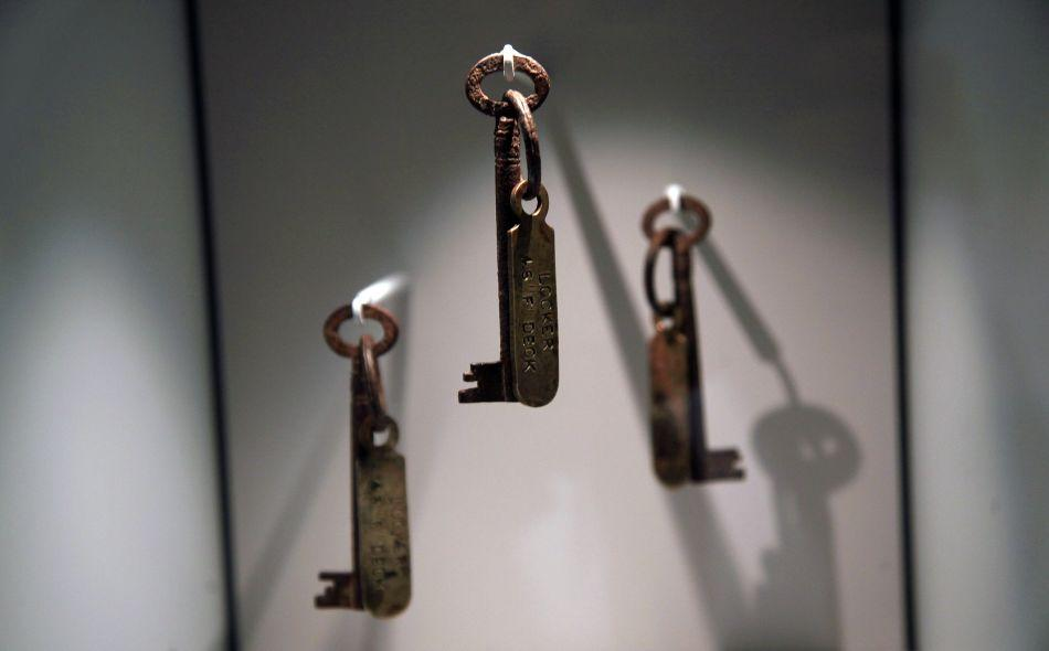 Titanic steward's keys are exhibited at the SeaCity Museum's Titanic exhibition on April 3, 2012 in Southampton, England.
