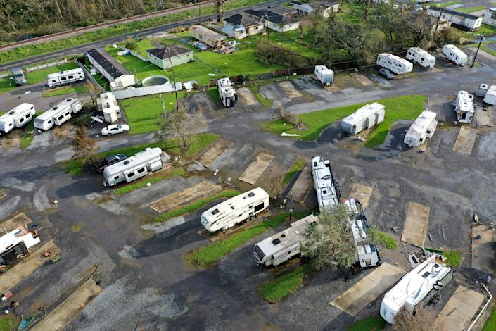 In this aerial photo, RVs are flipped over in an RV park after Hurricane Ida on August 31, 2021 in Paradis, Louisiana. Ida made landfall August 29 as a Category 4 storm southwest of New Orleans, causing widespread power outages, flooding and massive damage. (Scott Olson/Getty Images)