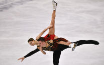 Russian pair Anastasia Mishina and Aleksandr Galliamov perform during the Pairs Free Skating at the Figure Skating World Championships in Stockholm, Sweden, Thursday, March 25, 2021. (AP Photo/Martin Meissner)