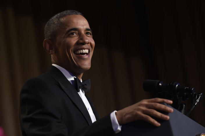 <p>President Obama speaks at the annual White House Correspondents' Dinner, April 30.<i> (Photo: Susan Walsh/AP)</i></p>