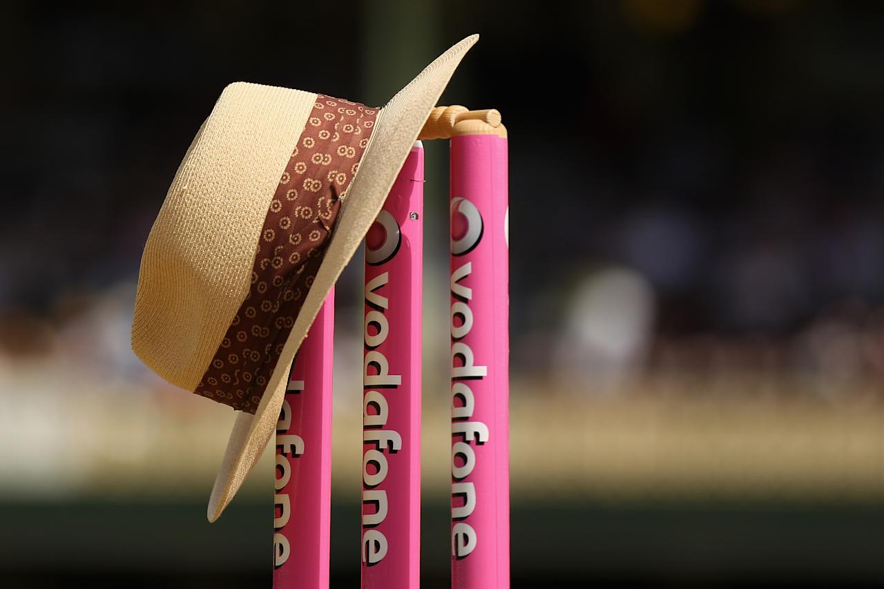 SYDNEY, AUSTRALIA - JANUARY 03:  The hat of the late Tony Greig, former England Test cricket captain turned commentator; is seen resting on the stumps ahead of play during day one of the Third Test match between Australia and Sri Lanka at Sydney Cricket Ground on January 3, 2013 in Sydney, Australia.  (Photo by Cameron Spencer/Getty Images)