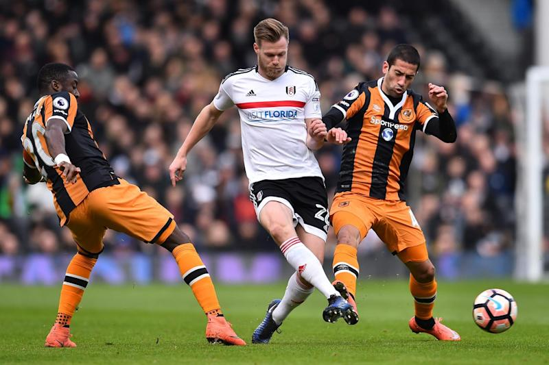 Kalas in action against Hull in the FA Cup earlier this season: AFP/Getty Images