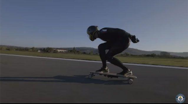 Speed demon Mischo Erban breaks the world record for electronic skateboarding, reaching 95.83km/h. Picture: Guinness World Records