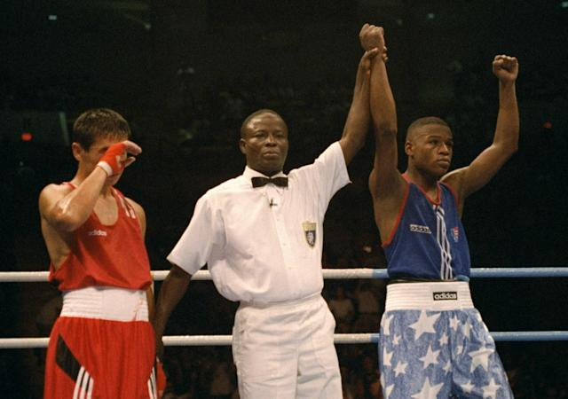 <p>Before holding multiple world titles across five different weight classes, boxer Floyd Mayweather Jr. won a bronze medal in the featherweight division at the 1996 Summer Olympics in Atlanta, Georgia. (Getty) </p>