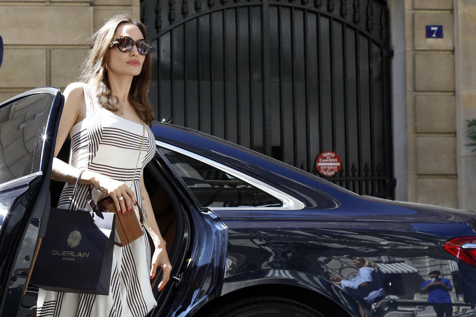 Angelina Jolie back to her hotel in Paris, France on July 9, 2019.  (Photo by Mehdi Taamallah/NurPhoto via Getty Images)