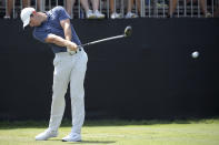 Rory McIlroy, of Northern Ireland, tees off on the first hole during the final round of the Arnold Palmer Invitational golf tournament Sunday, March 10, 2019, in Orlando, Fla. (AP Photo/Phelan M. Ebenhack)