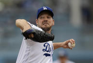 Los Angeles Dodgers starting pitcher Rich Hill throws to the plate during the second inning of a baseball game against the Philadelphia Phillies, Sunday, June 2, 2019, in Los Angeles. (AP Photo/Mark J. Terrill)