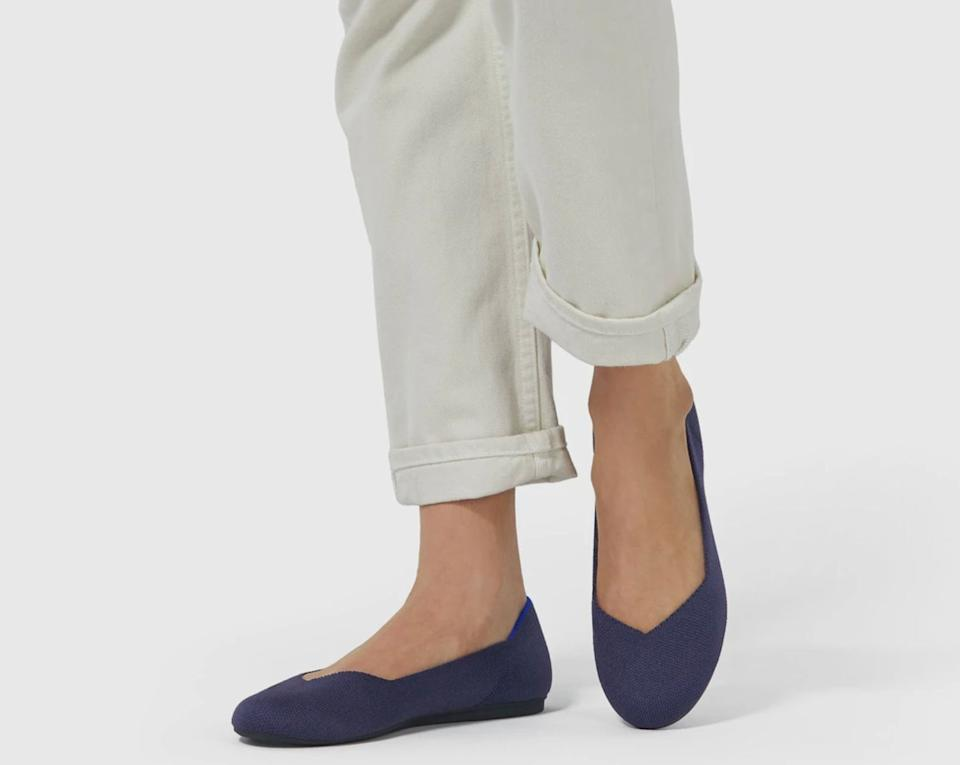 """Made out of repurposed water bottles, these flats are super comfortable right out of the box and won't give you nasty blisters. Plus, they're made to last, so you'll find they look just as good three years down the line.<br /><br /><strong>Get them from Rothy's for<a href=""""https://go.skimresources.com?id=38395X987171&xs=1&url=https%3A%2F%2Frothys.com%2Fproducts%2Fthe-flat-maritime-navy&xcust=HPSplurgeWorthy60771eb6e4b01654bb7978a0"""" target=""""_blank"""" rel=""""nofollow noopener noreferrer"""" data-skimlinks-tracking=""""5753950"""" data-vars-affiliate=""""Rakuten"""" data-vars-campaign=""""-SplurgeWorthyBasicsKass10-29-20-5753950"""" data-vars-href=""""https://click.linksynergy.com/deeplink?id=yPKHhJU2qBg&mid=41244&murl=https%3A%2F%2Frothys.com%2Fproducts%2Fthe-flat-maritime-navy&u1=-SplurgeWorthyBasicsKass10-29-20-5753950"""" data-vars-keywords=""""cleaning"""" data-vars-link-id=""""0"""" data-vars-price="""""""" data-vars-redirecturl=""""https://rothys.com/products/the-flat-maritime-navy"""" data-ml-dynamic=""""true"""" data-ml-dynamic-type=""""sl"""" data-orig-url=""""https://click.linksynergy.com/deeplink?id=yPKHhJU2qBg&mid=41244&murl=https%3A%2F%2Frothys.com%2Fproducts%2Fthe-flat-maritime-navy&u1=-SplurgeWorthyBasicsKass10-29-20-5753950"""" data-ml-id=""""27"""">$125</a>(available in sizes 5–13 and 17 colors and patterns).</strong>"""