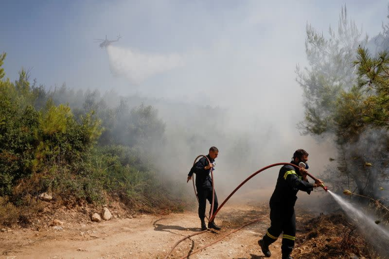 FILE PHOTO: Wildfire erupts near Athens
