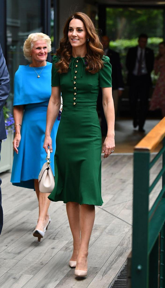 """<p>The women of the royal family know what they wear has major influence over shoppers. That's why people were upset when Kate Middleton rocked a Dolce & Gabbana dress at Wimbledon in 2019. Sure, the dress was fitting for the occasion, but <a href=""""https://www.bodyandsoul.com.au/style/why-this-kate-middleton-outfit-is-causing-so-much-controversy/news-story/1fb1c018bade771781fe775dfb3eb064"""" rel=""""nofollow noopener"""" target=""""_blank"""" data-ylk=""""slk:many criticized her"""" class=""""link rapid-noclick-resp"""">many criticized her</a> for supporting a designer who was involved in a <a href=""""https://www.bbc.com/news/world-asia-china-46968750"""" rel=""""nofollow noopener"""" target=""""_blank"""" data-ylk=""""slk:major scandal"""" class=""""link rapid-noclick-resp"""">major scandal</a>.</p>"""
