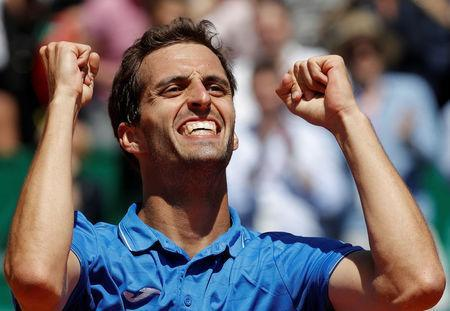 Tennis - Monte Carlo Masters - Monaco, 20/04/2017. Albert Ramos-Vinolas of Spain reacts after defeating Andy Murray of Britain. REUTERS/Eric Gaillard