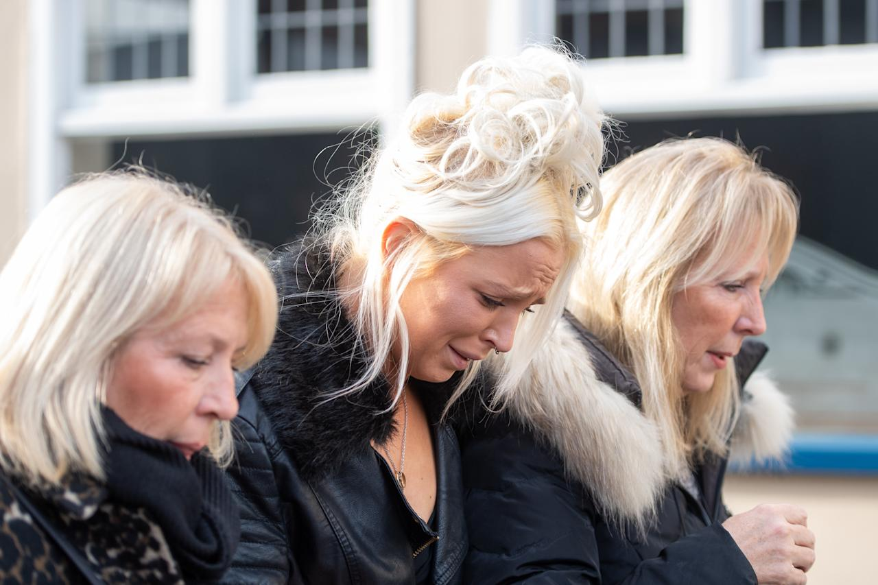 Chloe Haines leaves Chelmsford Magistrates' Court, Chelmsford, Essex, where she is charged with assault and with recklessly or negligently acting in a manner likely to endanger an aircraft or persons inside, after she allegedly became disruptive on a Jet2 flight to Turkey which was escorted back to Stansted Airport by two RAF Typhoon jets on June 22 2019.