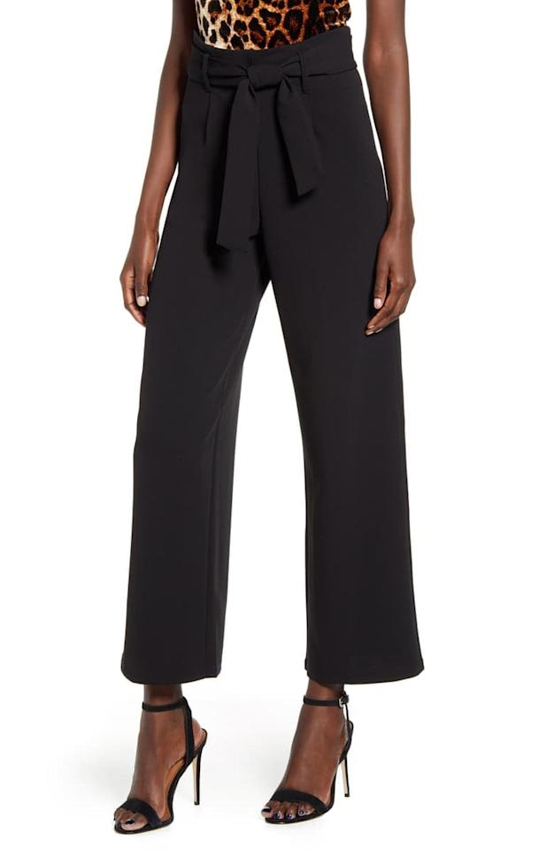 """<p>Dress up for work in these comfy <a href=""""https://www.popsugar.com/buy/Leith-High-Waist-Belted-Pants-485555?p_name=Leith%20High%20Waist%20Belted%20Pants&retailer=shop.nordstrom.com&pid=485555&price=59&evar1=fab%3Aus&evar9=41975953&evar98=https%3A%2F%2Fwww.popsugar.com%2Ffashion%2Fphoto-gallery%2F41975953%2Fimage%2F46559417%2FLeith-High-Waist-Belted-Pants&list1=shopping%2Cfall%20fashion%2Cfall%2Csummer%2Cstyle%20tips%2Csummer%20fashion%2Cpinnable&prop13=mobile&pdata=1"""" rel=""""nofollow"""" data-shoppable-link=""""1"""" target=""""_blank"""" class=""""ga-track"""" data-ga-category=""""Related"""" data-ga-label=""""https://shop.nordstrom.com/s/leith-high-waist-belted-pants/4982183?origin=keywordsearch-personalizedsort&amp;breadcrumb=Home%2FAll%20Results&amp;color=black"""" data-ga-action=""""In-Line Links"""">Leith High Waist Belted Pants</a> ($59).</p>"""