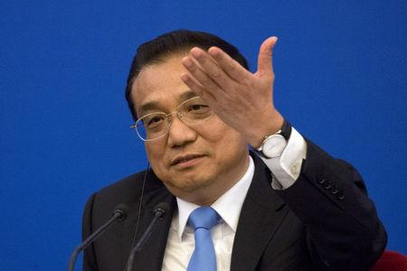 Chinese Premier Li Keqiang speaks at the China-EU Business Roundtable held at the Great Hall of the People in Beijing, China