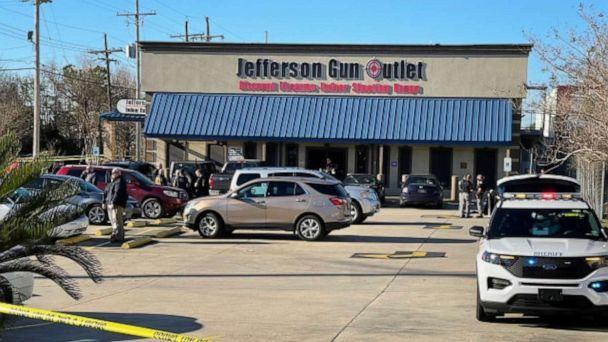 PHOTO: Three people were killed, including the gunman, after a shooting outside Jefferson Gun Outlet in Metairie, La., on Feb. 20, 2021. (WGNO/NewsNation)
