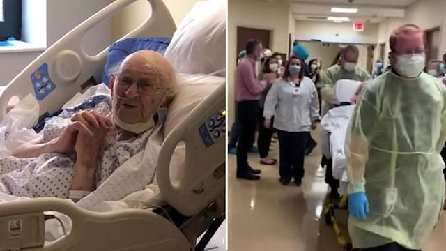 Lloyd Falk, a 100-year-old war veteran has beaten COVID-19, after months in hospital and losing his wife of 74 years to the virus. Source: Storyful