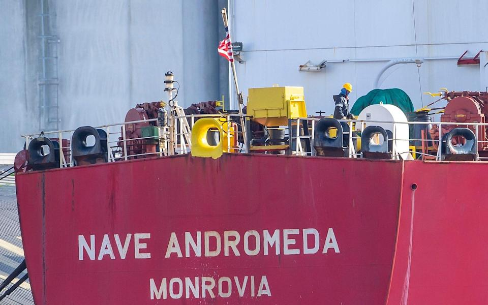 The Nave Andromeda oil tanker is now docked next to the Queen Elizabeth II Cruise Terminal in Southampton, southern England. - Paul Grover/The Telegraph