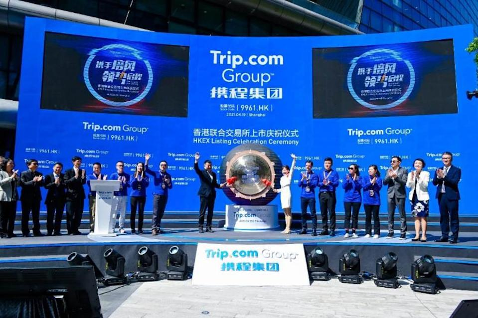 Shares in Trip.com rise during market debut in Hong Kong. Photo: Trip.com