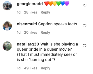 The actor's fans were left wondering about her sexuality. Photo: Instagram/emmalouisecorrin.