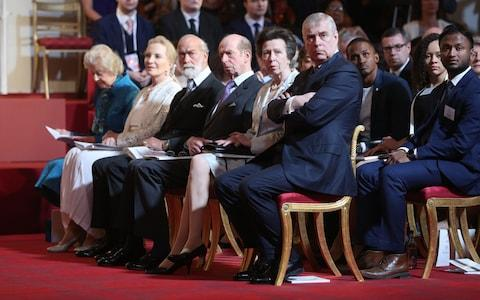 Members of the Royal Family watch the ceremony - Credit: Jonathan Brady /PA