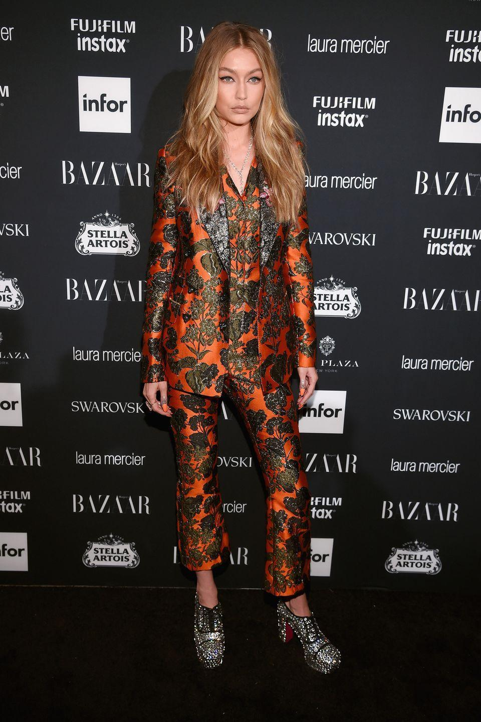 <p>In a Dolce & Gabbana embroidered suit with Christina Louboutin platform heels at the Harper's BAZAAR Celebration of 'ICONS By Carine Roitfeld.</p>