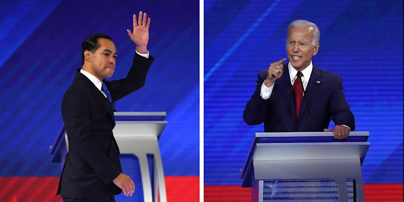 Democratic presidential hopeful former housing secretary Julian Castro and Democratic presidential candidate former Vice President Joe Biden | Robyn Beck—AFP/Getty Images; Win McNamee—Getty Images