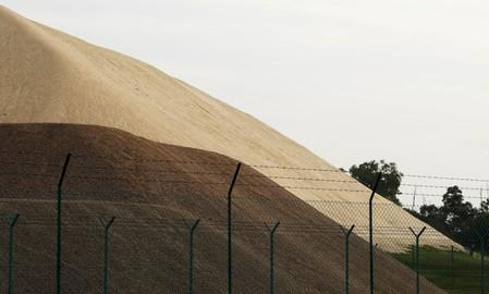 A stockpile of sand is pictured in Singapore