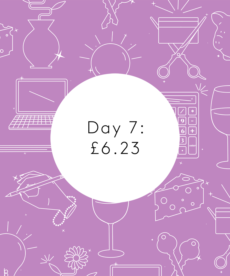 <strong>Day Seven</strong><br><br>7.15am: Wake up before the alarm still feeling anxious.<br><br>7.45am: Download a meditation app and do a 15-minute meditation. I'm not sure if it worked but it gave me space to think about what caused the anxiety and reflect on my thoughts and feelings.<br><br>8am: T goes to Sainsbury's and buys bananas, granola, almond milk and and two avocados, £5.23. Eat some granola with a cup of tea. Spend some time calling traders from the Green Homes Grant scheme about insulation for our loft but seems they are all inundated.<br><br>11.30am: Make a round of teas for the office! Tea for me, coffee for T.<br><br>1.15pm: Lunch is leftover stew with an episode of <em>The Office</em>.<br><br>5.30pm: Finish for the day.<br><br>6pm: Yoga class at the studio booked through MoveGB. Feel really good after.<br><br>7pm: Pop into Co-op to buy a pack of spaghetti. £1<br><br>7.30pm: Get home and make a Thai veg curry with cauliflower rice.<br><br>8.30pm: American<em> Office</em>.<br><br>10.30pm: Bed and book! <br><br><strong>Total: £6.23</strong>