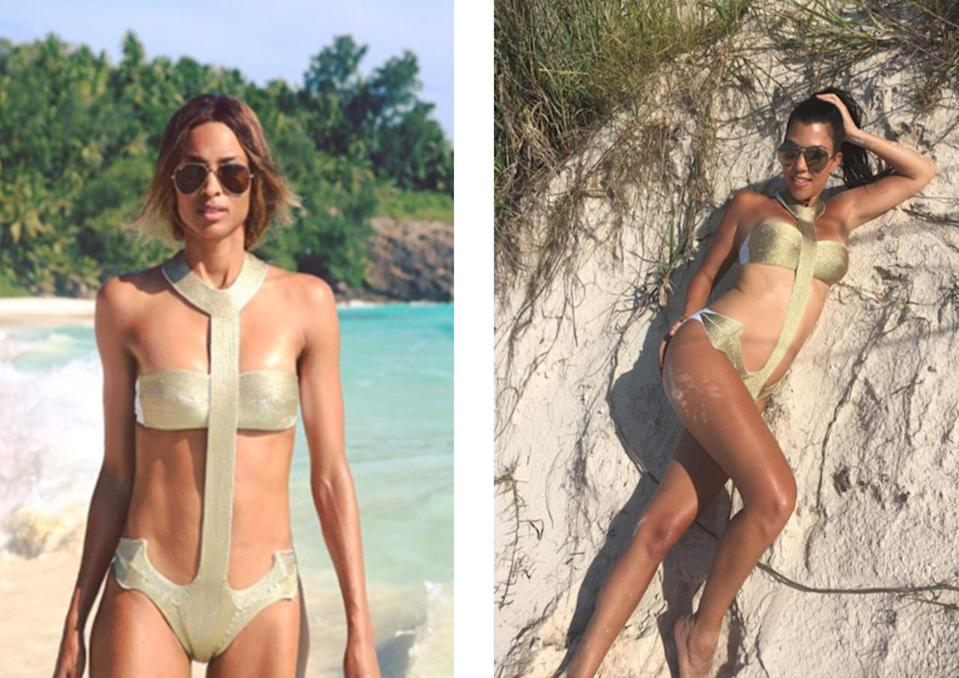 <p>Ciara debuted this anchor La Perla monokini on Instagram first, followed by Kourtney. <i>[Photo: Instagram]</i></p>