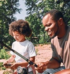 Father and child fishing.
